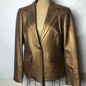 Tribal gold leather blazer